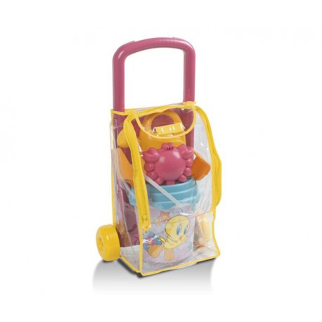 SET PLAYA TROLLEY PIOLIN CON CUBO REGADERA PALA RASTRILLO Y 1 MOLDE (CANGREJO)
