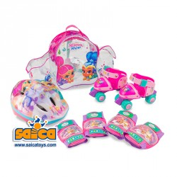 PATINES SHIMMER AND SHINE MOCHILA MINI ROLLER+CASCO Y PROTECCIONES