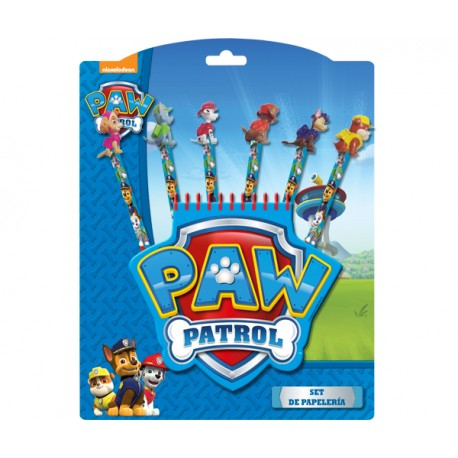 PAW PATROL SET PAPELERIA 6 LAPICES+BLOC NOTAS